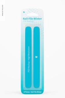 Nail file blister mockup, front view