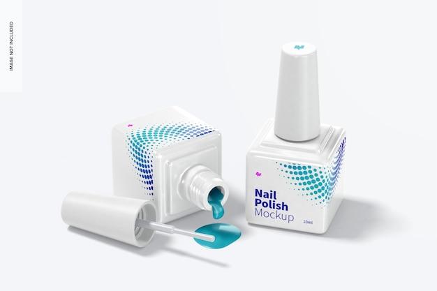 Nail polish bottles mockup, opened and closed