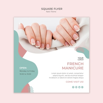 Nail studio flyer template concept