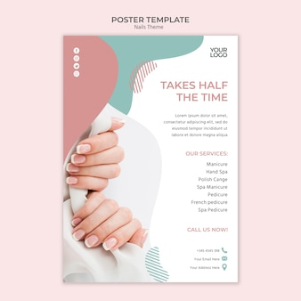 Nail studio poster template concept
