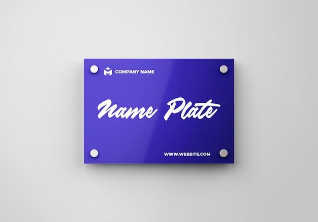 Name plate on wall mockup