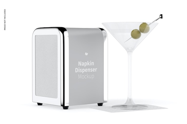 Napkin dispenser mockup, perspective view
