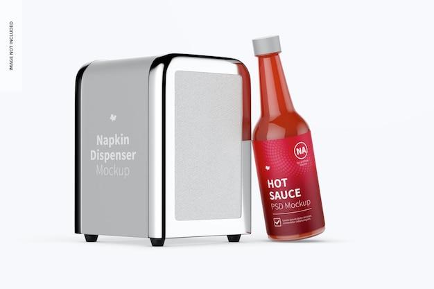Napkin dispenser mockup, with ketchup