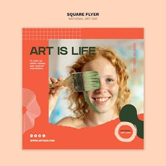 Национальный день искусства квадратный флаер с фото