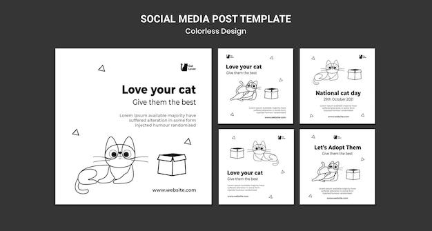 National cat day social media post