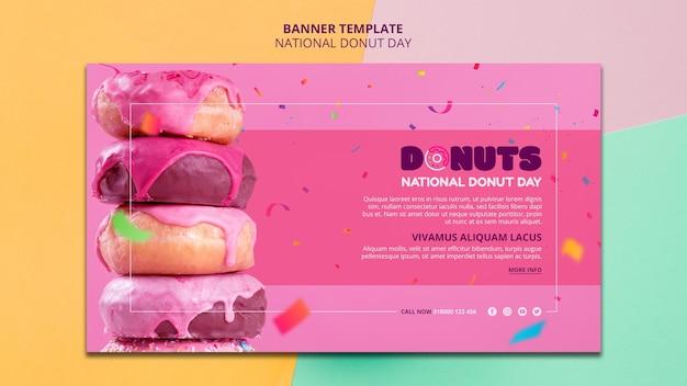 Национальный баннер день пончик шаблон