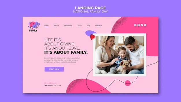 National family day landing page design
