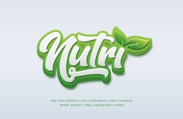 Natural 3d text style effect
