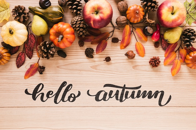 Natural autumn decor with greetings