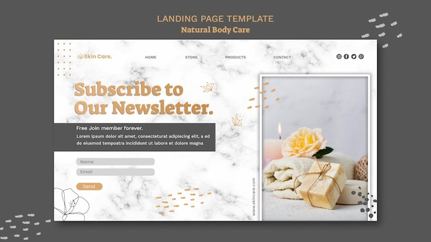 Natural body care landing page