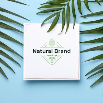 Натуральный макет бренда с листьями