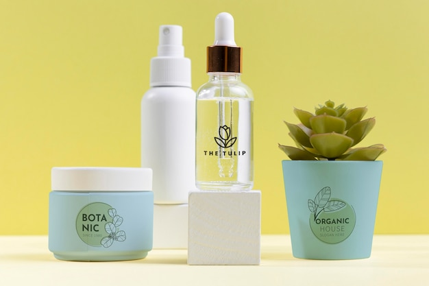 Natural cosmetics assortment with plant