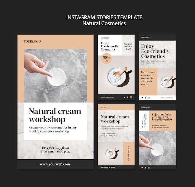 Modello di storie instagram di cosmetici naturali