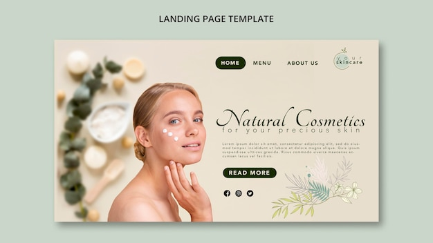 Natural cosmetics landing page template