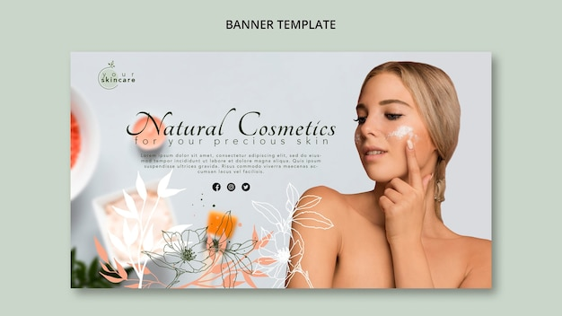 Natural cosmetics shop banner template