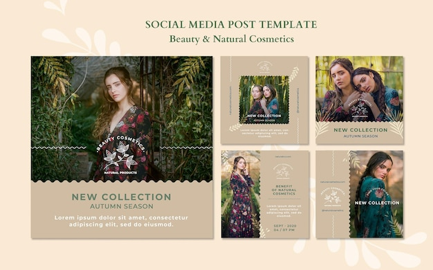 Natural cosmetics social media post template