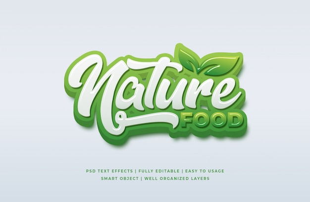 Natural food 3d text style