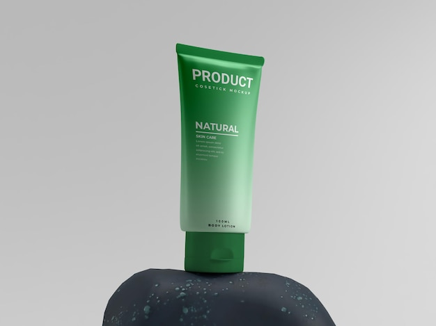 Natural fresh cosmetic green on stone beauty pack product display mockup