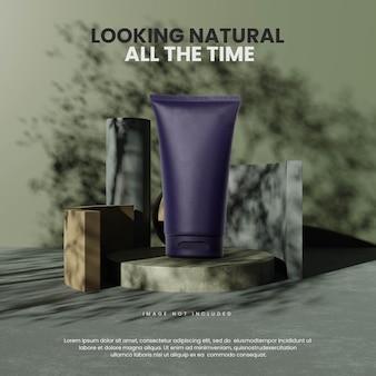 Natural geometric podium with tree shadow