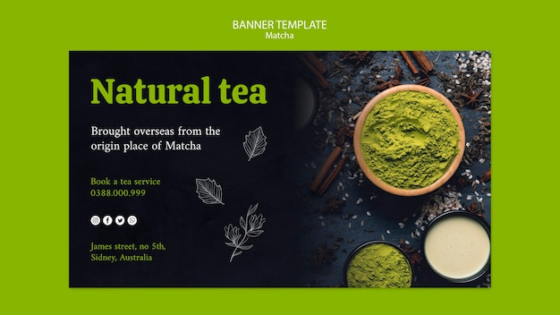 Natural green beverage tea banner