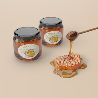 Natural honey product in jars