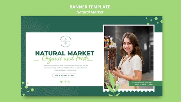 Natural market concept banner template