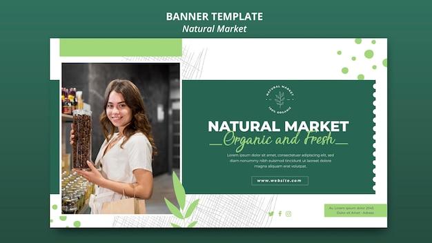 Modello di banner di concetto di mercato naturale