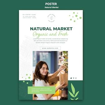 Шаблон плаката концепции естественного рынка
