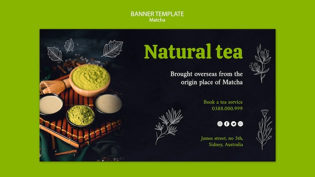 Natural matcha tea banner template