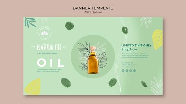 Natural oil banner template special offer