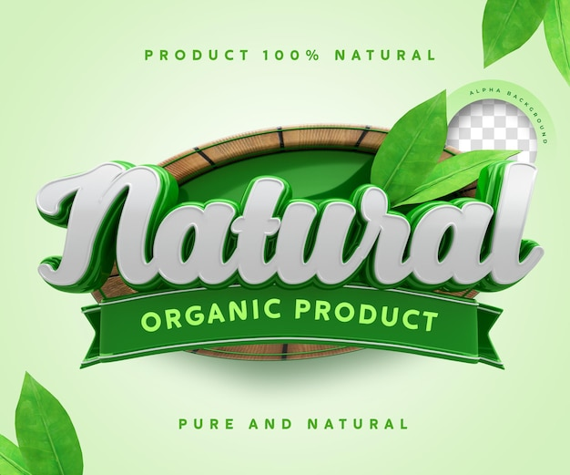 Natural organic product label 3d 100 percentage sticker symbol