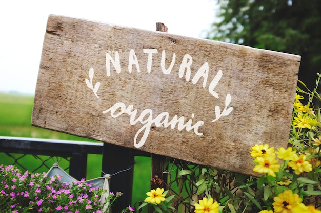 Natural organic wooden sign board mockup