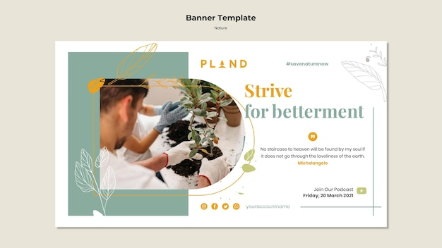 Natural plants banner template