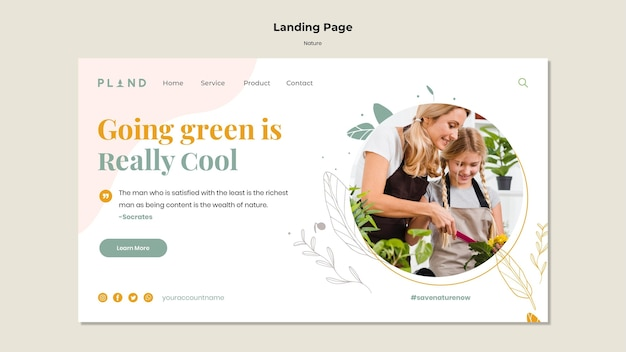 Natural plants landing page template