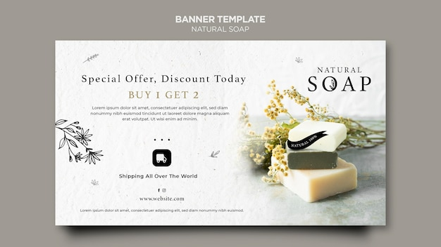 Natural soap concept banner template