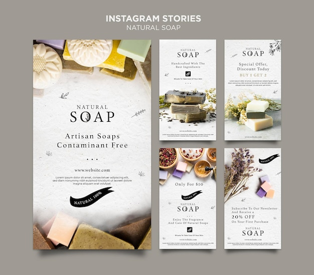 Natural soap concept instagram stories template