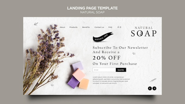 Natural soap concept landing page template