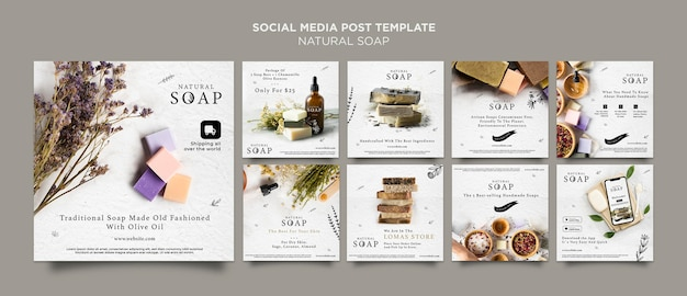 Natural soap concept social media post template