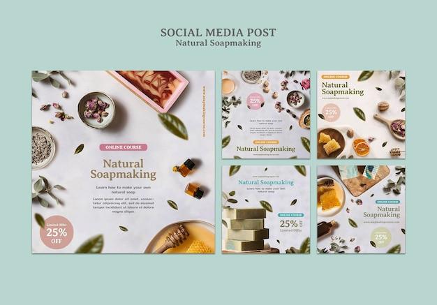 천연 비누 만들기 소셜 미디어 게시물