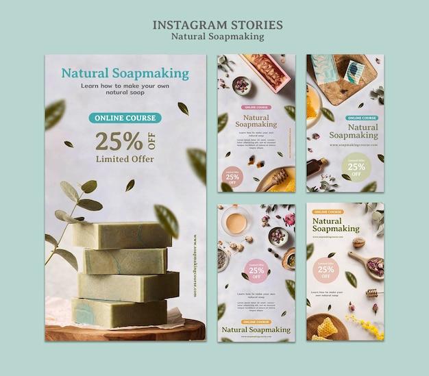 Natural soap making social media stories