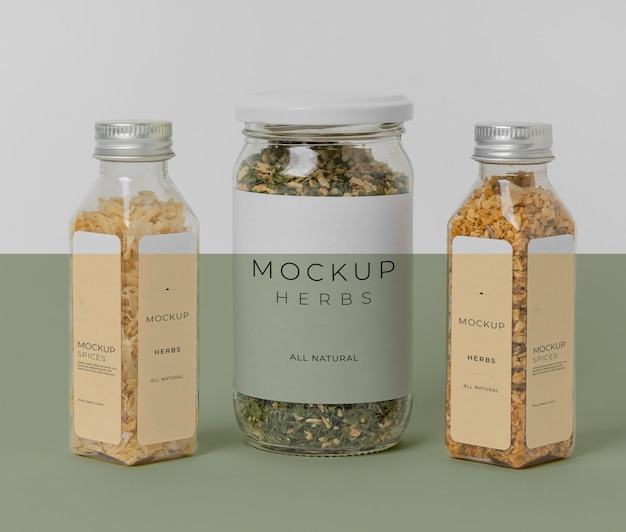 Natural spices with label mock-up arrangement