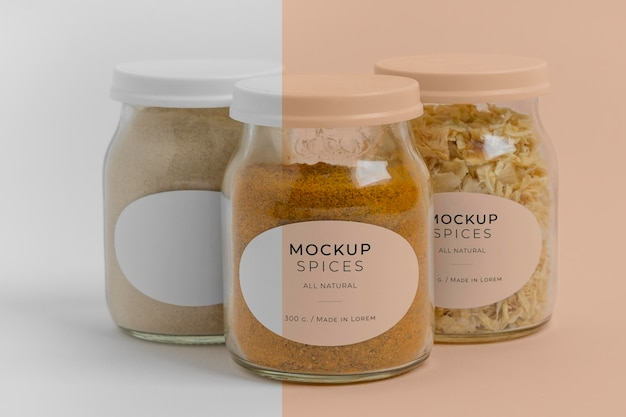 Natural spices with label mock-up arrangement Free Psd