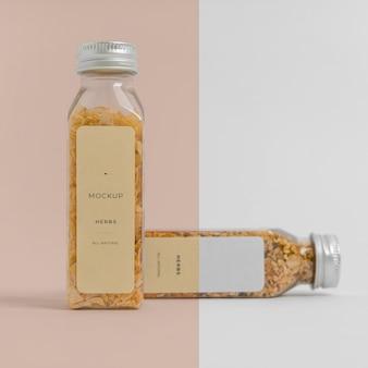 Natural spices with label mock-up arrangement