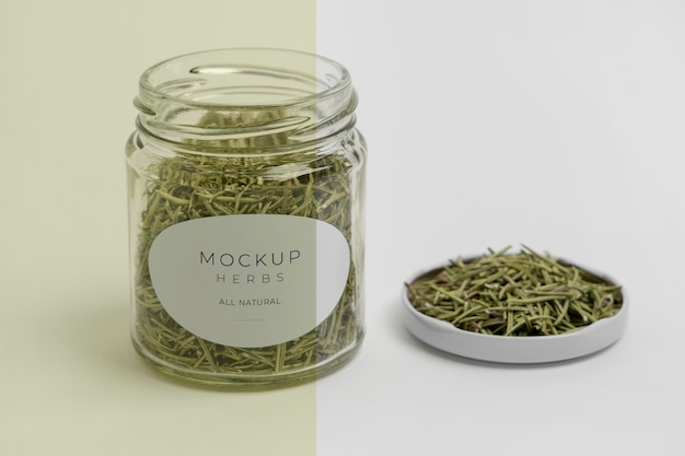 Natural spices with label mock-up assortment
