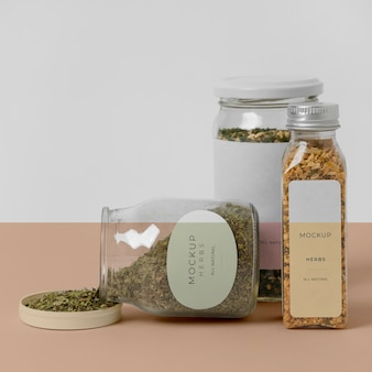 Natural spices with label mock-up composition