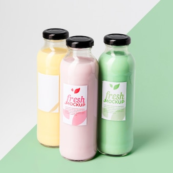 Naturally grown fruit in bottles mock-up