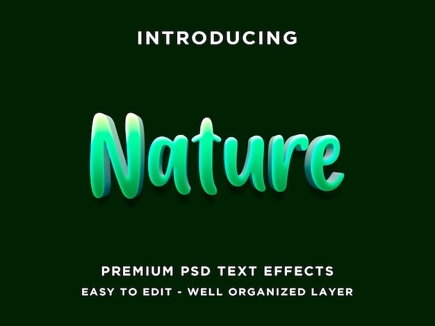 Nature 3d  green editable text effect style