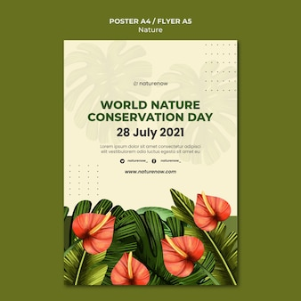 Nature conservation day poster template Free Psd