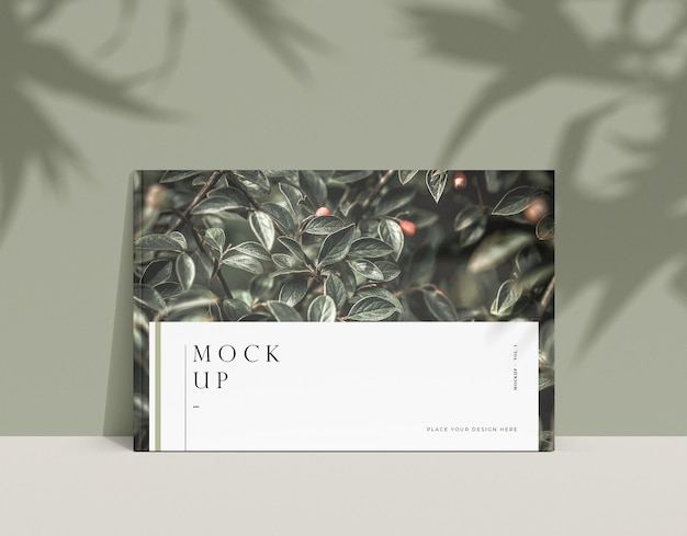 Rivista editoriale natura mock-up e ombre