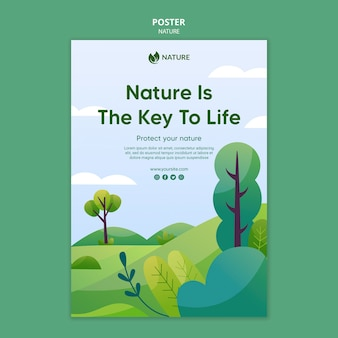 自然は人生の鍵となるポスターテンプレート